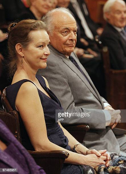 US conductor Lorin Maazel and his wife German actress Dietlinde Turban listen to the president of the Vienna Philharmonic Orchestra Clemens Hellsberg...