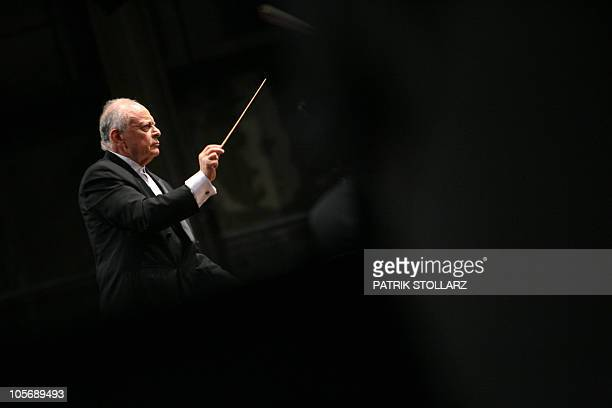 US conductor Lorin Maazel leads his orchestra whose musicians come mainly from the Ruhr region during the final rehearsal of Symphony No8 Es Dur...