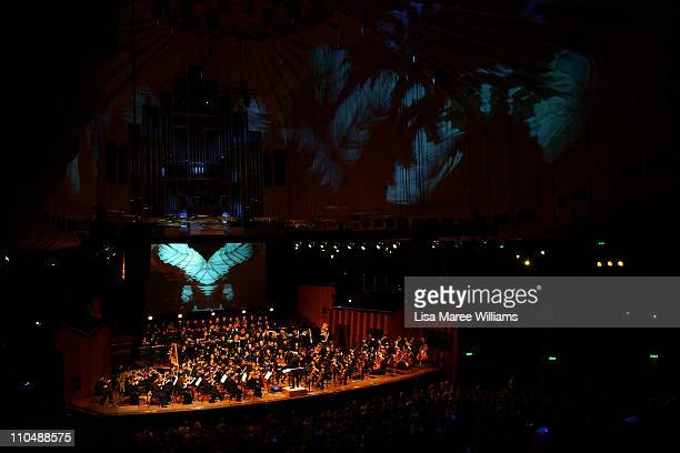 Conductor Michael Tilson Thomas performs on stage with the YouTube Symphony Orchestra at Sydney Opera House on March 20 2011 in Sydney Australia...