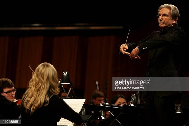 Conductor Michael Tilson Thomas performs on stage with the YouTube Symphony Orchestra at Sydney Opera House on March 20, 2011 in Sydney, Australia....