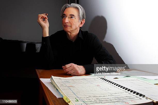 Conductor Michael Tilson Thomas prepares backstage prior to performing with the YouTube Symphony Orchestra at Sydney Opera House on March 20, 2011 in...