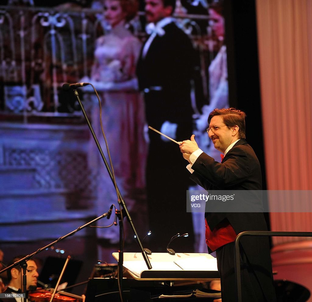 Conductor Neil Casey and American Hollywood Film Orchestra perform on the stage during Chongqing New Year Concert at Chongqing Grand Theatre on December 27, 2012 in Chongqing, China.
