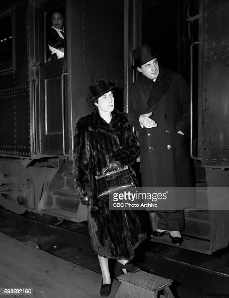 Conductor of the New York Philharmonic, John Barbirolli and wife, in Chicago, Illinois. Image dated November 26, 1939.