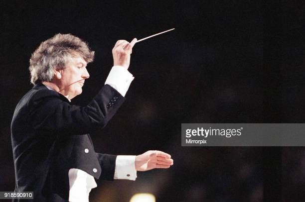 Conductor Owain Arwel Hughes at the Cor World Choir concert at Cardiff Arms Park 29th May 1993