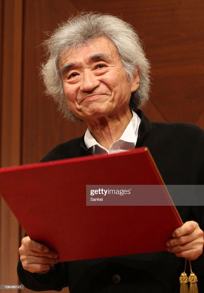 Conductor Seiji Ozawa receieves the certificate of the honorary membership of the Vienna Philharmonic Orchestra on November 2, 2010 in Tokyo, Japan.