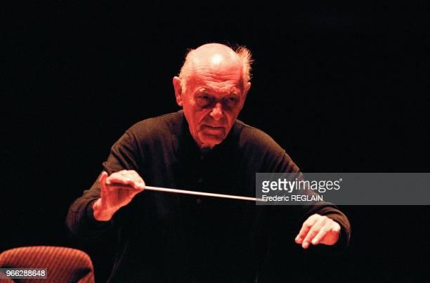 Conductor Sir Georg Solti During Concert, Paris April 28, 1994.