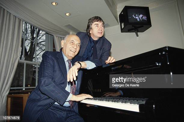 Conductor Sir Georg Solti with British actor, comedian and musician Dudley Moore , circa 1985.