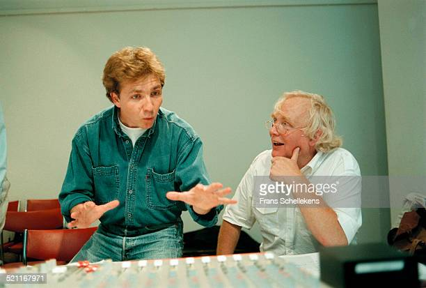 Conductor Thierry Fischer talks to Dutch composer Peter Schat at a church on July 1st 1997 in Amsterdam, Netherlands.