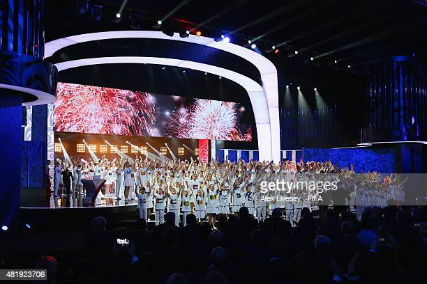 Conductor Valery Gergiev and Polina Gagarina perform at the Preliminary Draw of the 2018 FIFA World Cup in Russia at The Konstantin Palace on July 25...