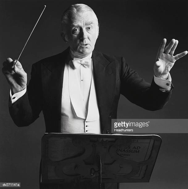 conductor waving baton in front of stand - headhunters stock pictures, royalty-free photos & images