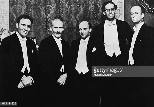 Conductors Bruno Walter Arturo Toscanini Erick Kleiber Otto Klemperer and Wilhelm Furtwangler attend a reception for Toscanini Berlin ca 1929