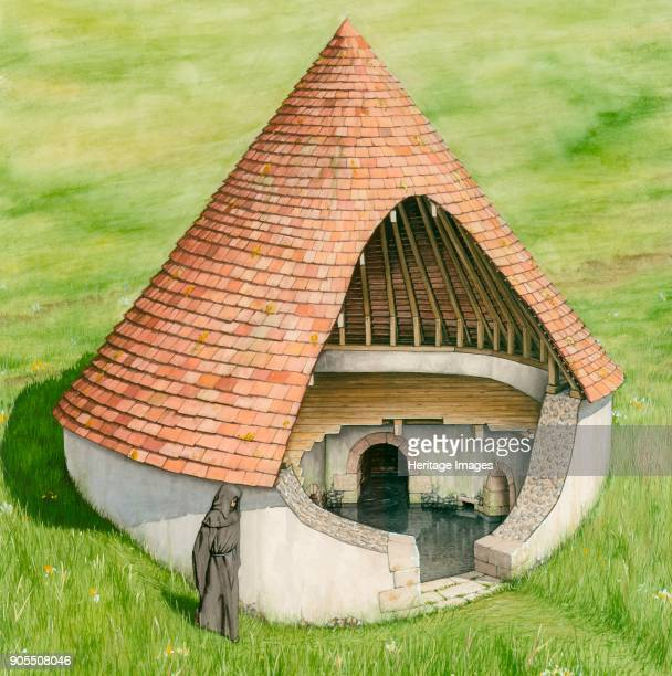 Conduit house St Augustine's Abbey Canterbury Kent Cutaway reconstruction drawing depicting the water supply conduit house for St Augustine's Abbey...