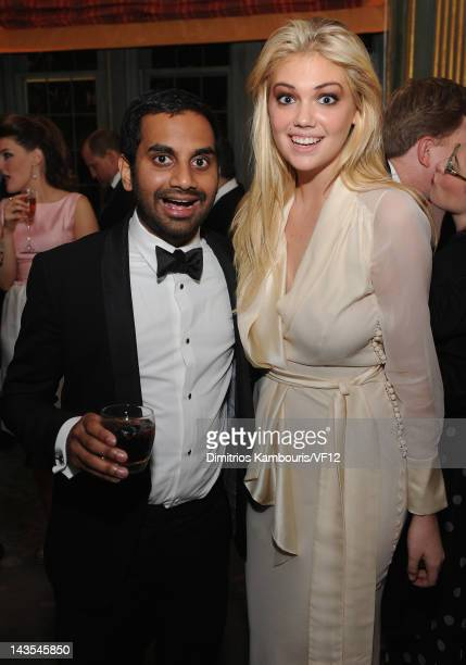 Conedian Aziz Ansari and model Kate Upton attend the Bloomberg Vanity Fair cocktail reception following the 2012 White House Correspondents'...