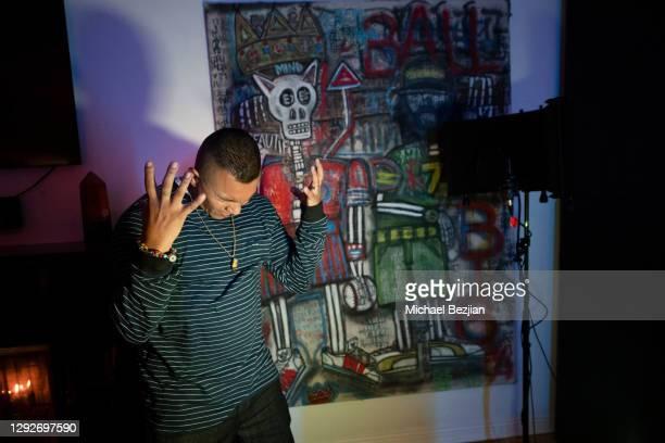 Conejo recording music at Conejo and Friends Visit TAP Studios on December 21, 2020 in Los Angeles, California.