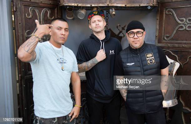 Conejo, Tim Peugh, and R1ck One pose for portrait at Conejo and Friends Visit TAP Studios on December 21, 2020 in Los Angeles, California.