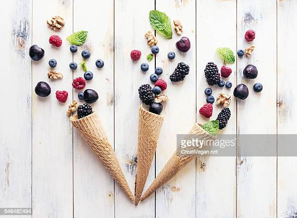 Cones with fruits, berries and nuts