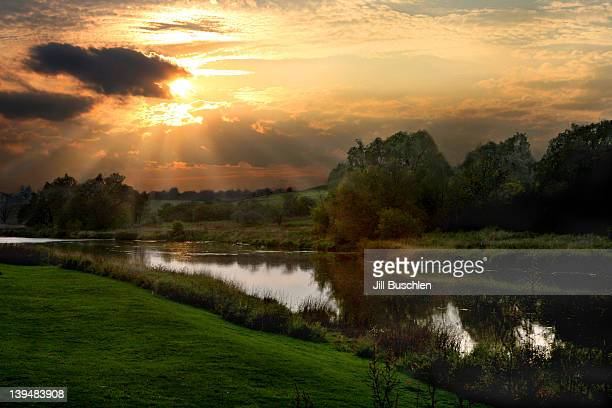 Conestogo river at sunset