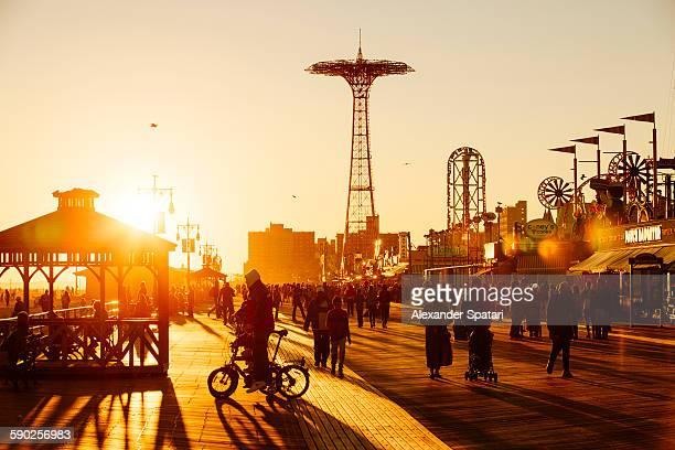 Coney Island Boardwalk at sunset