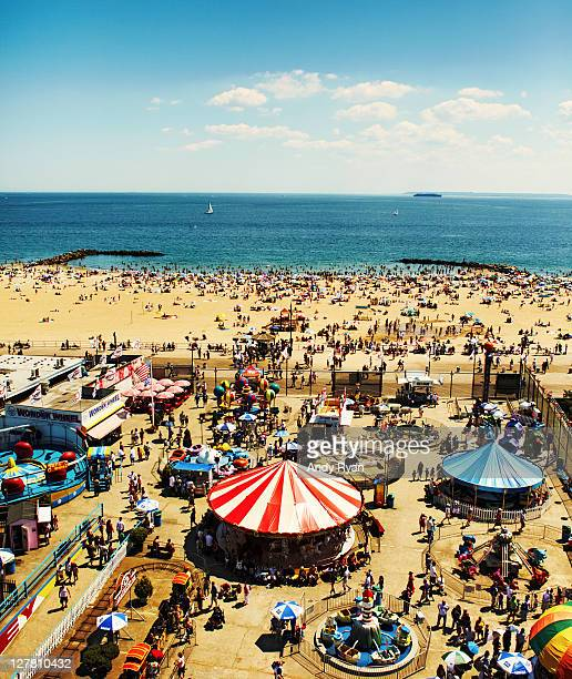 coney island, ny, elevated view - coney island stock pictures, royalty-free photos & images