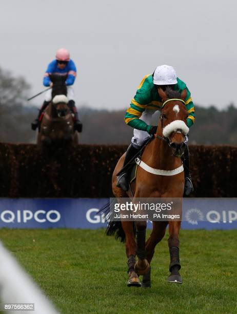 Coney Island ridden by Barry Geraghty lead Adrien Du Pont and Sam TwistonDavies away from the last fence before going on to win The Sodexo Graduation...