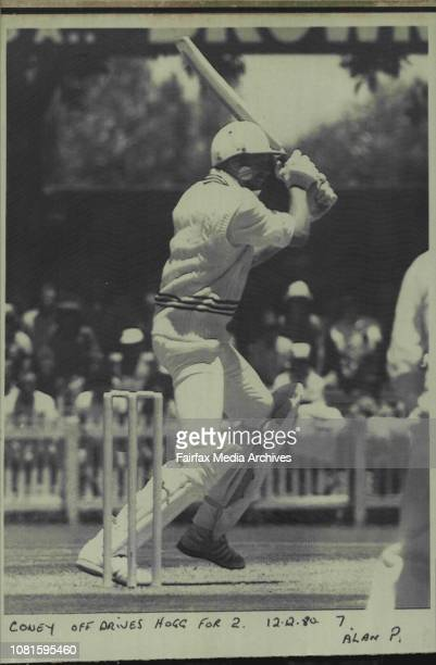 Coney off drives Hogg for 2Jeremy Coney the New Zealand batsman who topscored with 71 drives Rodney Hogg for two on his way to rescuing his team...