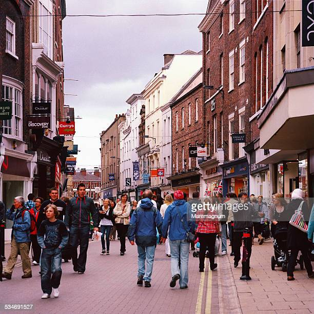 coney street, pedestrian street in central town - high street stock pictures, royalty-free photos & images