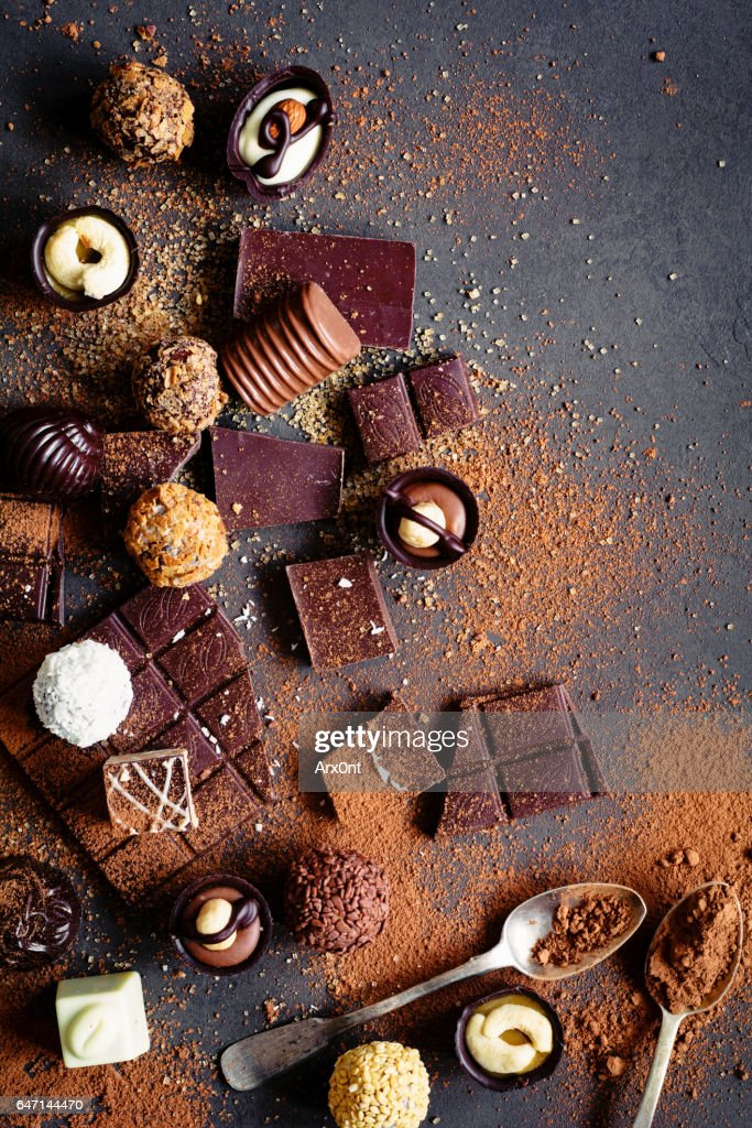 Confection, chocolate candies, truffles and bars : Stock Photo