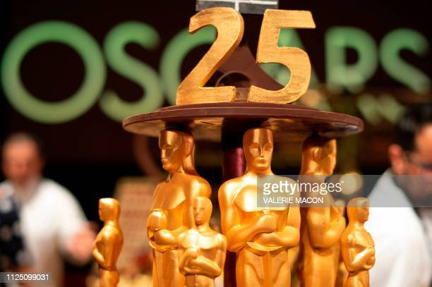 Confections by pastry chef Kamel Guechida are displayed during a preview for the Governors Ball during the 91st annual Academy Awards week in...