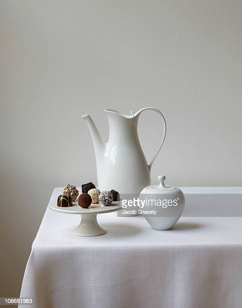 confections with coffee and sugar on table. - sugar bowl crockery stock photos and pictures