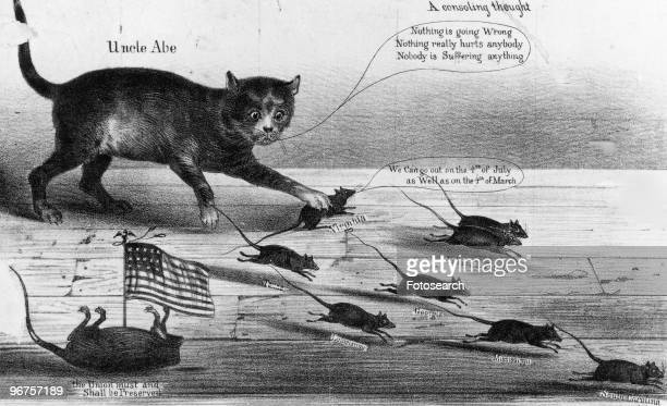 Confederate cartoon entitled 'Virginia Pawsing' depicting Abraham Lincoln as a cat with the caption 'A Consoling Thought Uncle Abe 'Nothing is going...