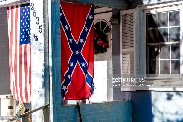 Confederate Flag Displayed With Us Flag On Front Porch Near Window Backroads Of Virginia October 26 2016