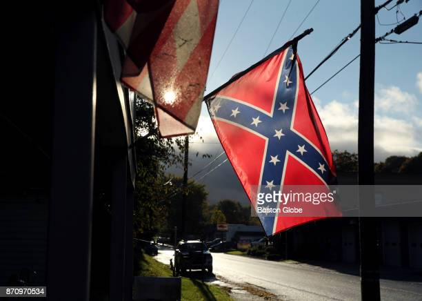A confederate flag hangs outside a home in the Borough of Yoe in York County PA on Oct 24 2017 York County went big for President Donald Trump in the...