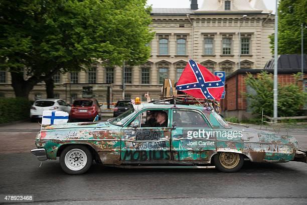 confederate flag in turku, finland - turku finland stockfoto's en -beelden