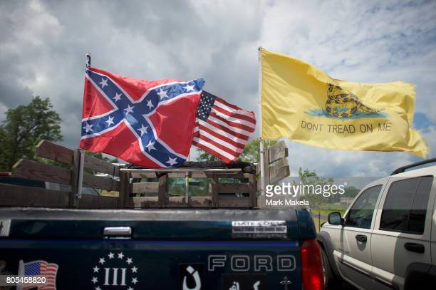 Confederate flag is displayed on a truck at the Gettysburg National Military Park on July 1 2017 in Gettysburg Pennsylvania The US park service...