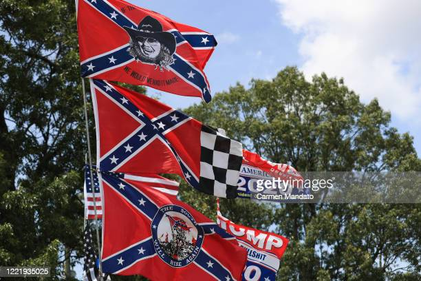 Confederate flag merchandise is seen at a hut across the street from the Talladega Superspeedway prior to the NASCAR Cup Series GEICO 500 on June 22,...