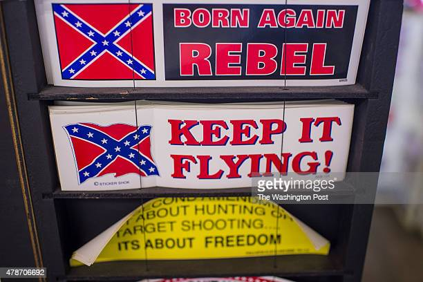 Confederate flag stickers are seen for sale at the Southern Patriot Shop in Abbeville SC on Thursday June 25 2015