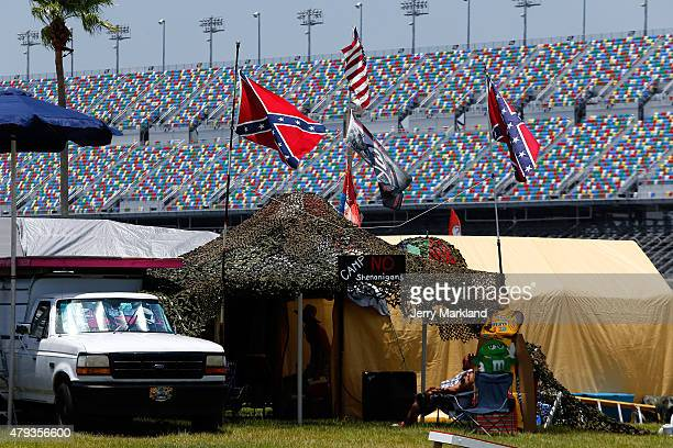 Confederate flags are seen prior to practice for the NASCAR XFINITY Series Subway Firecracker 250 at Daytona International Speedway on July 3, 2015...