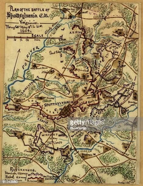 Confederate forces located around and to the north of Spotsylvania Court House with the Po River at their back The Union forces were positioned along...