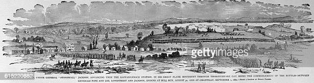 Confederate forces under General Stonewall Jackson advance on Rappahannock Station on August 30 during the second Battle of Bull Run