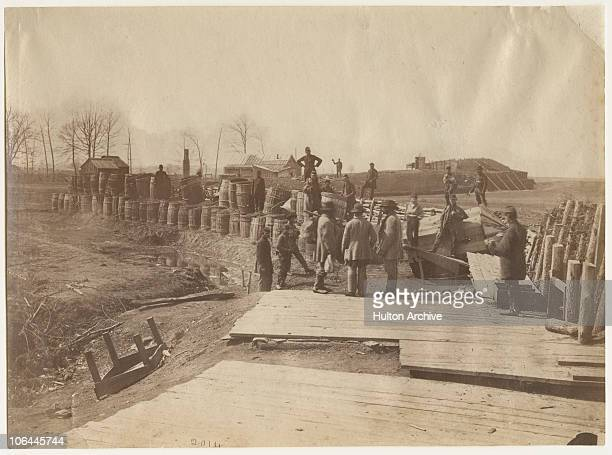 Confederate fortifications at Manassas Virginia during the American Civil War March 1862 They were laid out by engineer General Beauregard From...