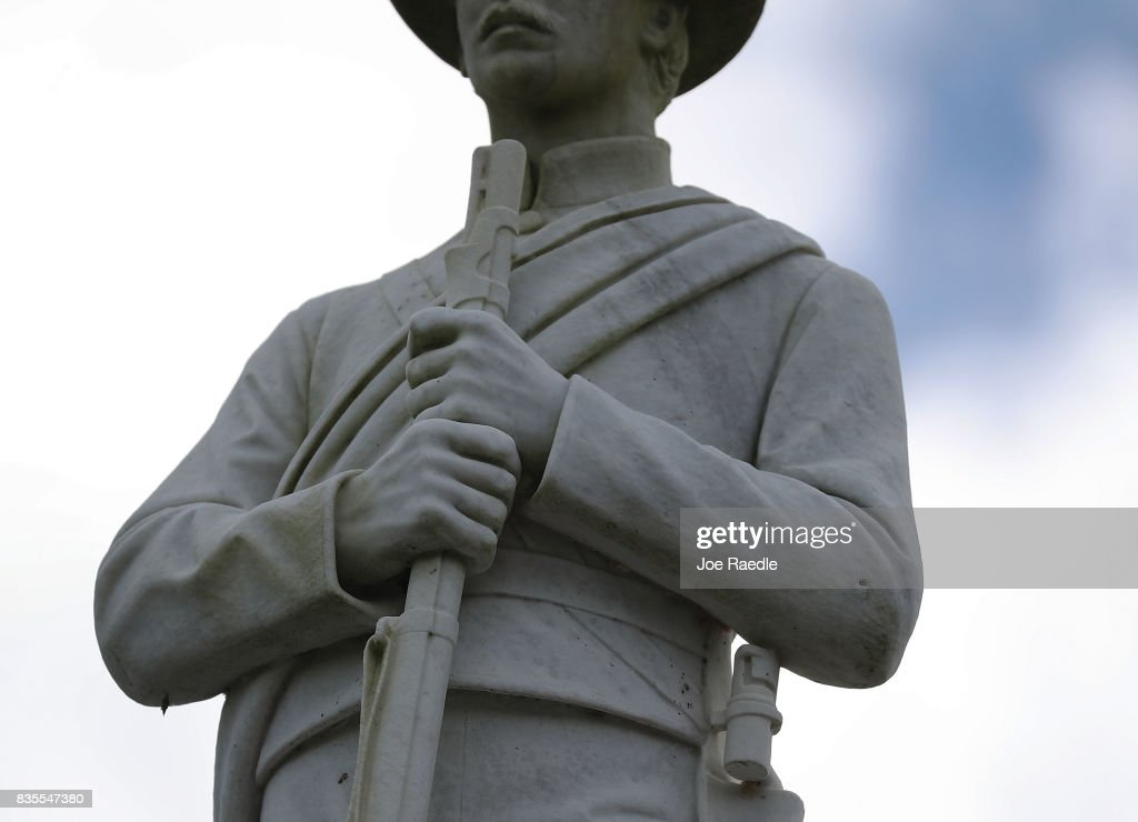 A Confederate monument featuring a statue of a Confederate soldier is seen at the Ocala Veterans Park in the midst of a national controversy over whether Confederate symbols should be removed from public display on August 19, 2017 in Ocala, Florida. The issue is at the heart of a debate about race in America and a recent protest in Charlottesville, VA turned deadly as white-supremacists clashed with counter-demonstrators over a confederate statue.