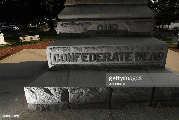 Confederate monument featuring an 8foot statue of a Confederate soldier has the words 'Our Confederate Dead' inscribed on the base in Lee Park in the...