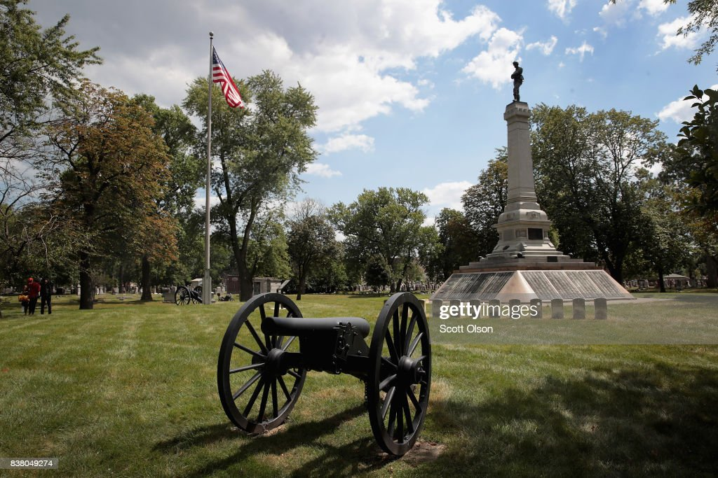 Confederate Mound, a memorial to more than 4,000 Confederate prisoners of war who died in captivity at Camp Douglas and are buried around the monument sits in a Southside cemetery on August 23, 2017 in Chicago, Illinois. The monument, which is maintained by the National Park Service, is located inside the private Oak Woods Cemetery. Cities around the country are debating what to do with Confederate monuments following recent protests and calls for their removal.