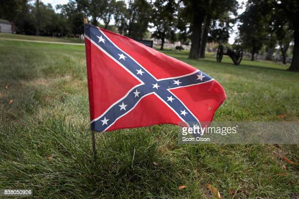 Confederate Navy jack flag sits at the base of Confederate Mound a memorial to more than 4000 Confederate prisoners of war who died in captivity at...