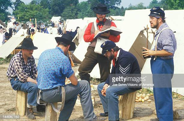 Confederate participants in camp scene during recreation of Battle of Manassas marking the beginning of the Civil War