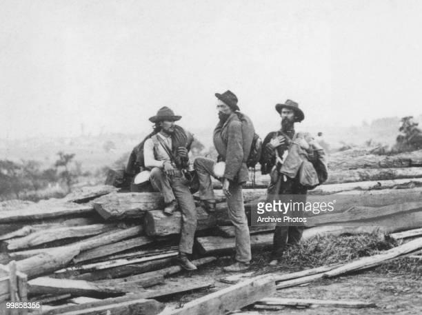 Confederate prisoners at Seminary ridge during the battle of Gettysburg in Gettysburg, Pennsylvania circa July,1863.