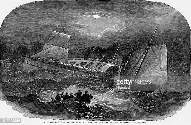 A Confederate schooner sinks after ramming the Federal troop transport ChiaKiang ca 1863