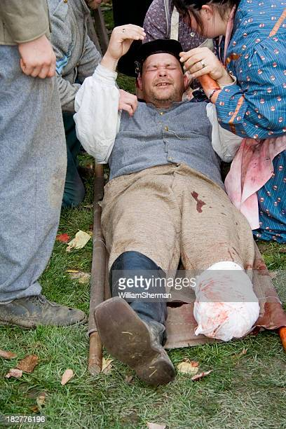 confederate soldier screaming in pain - civil war stock pictures, royalty-free photos & images
