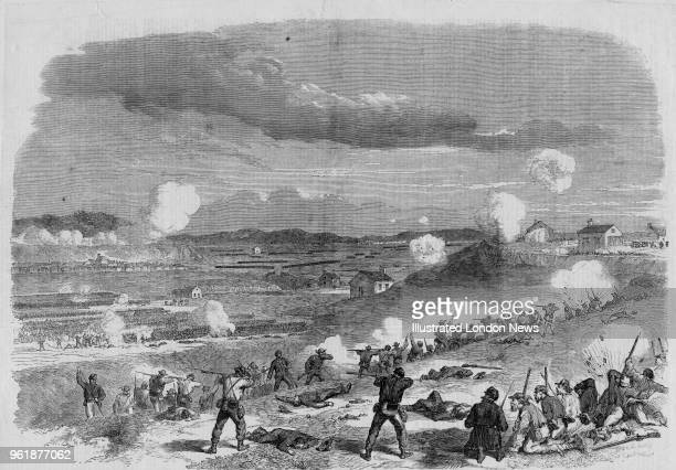 Confederate soldiers of Cobb's Brigade First Corps Army of Northern Virginia hold the position on Marye's Heights against the attack by the Union...