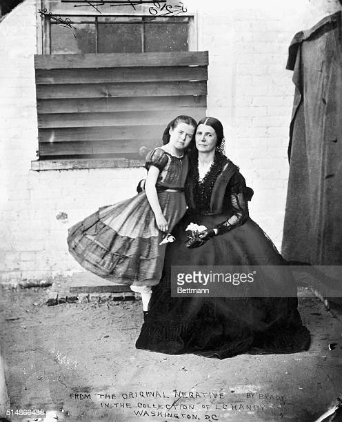 Confederate spy Rose O'Neal Greenhow with her daughter in the courtyard of the Old Capitol Prison in Washington DC